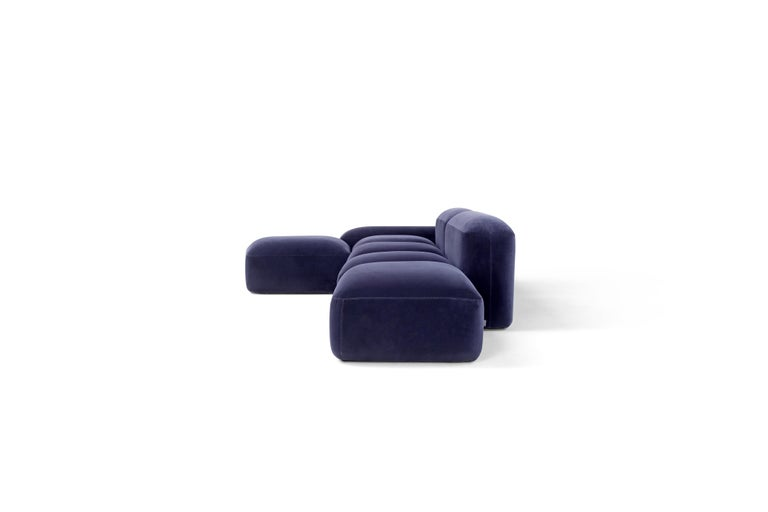 Hand-Crafted Amura 'Lapis' Sofa in Blue Velvet by Emanuel Gargano & Anton Cristell For Sale