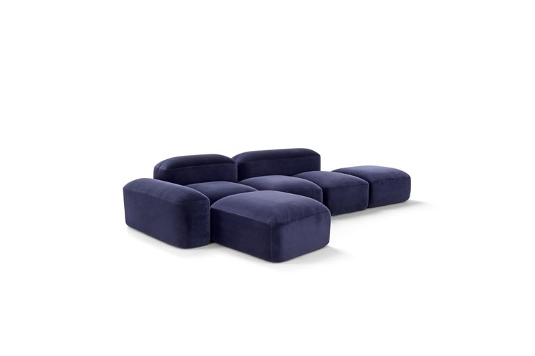 Amura 'Lapis' Sofa in Blue Velvet by Emanuel Gargano & Anton Cristell In New Condition For Sale In GRUMO APPULA (BA), IT