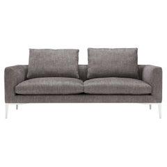 Amura 'Leonard' 2-Seat Sofa in Charcoal Fabric and Metal Legs by Emanuel Gargano