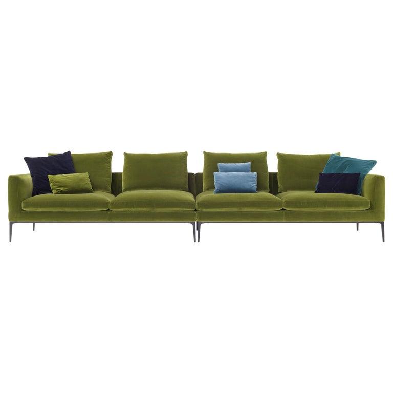 Amura 'Leonard' Composition Sofa in Green Velvet by Emanuel Gargano For Sale