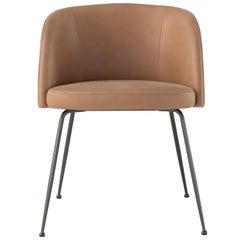 Amura Monnalisa Armchair in Leather and Dark Oak Base by Amuralab