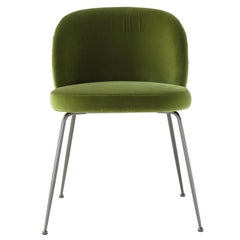 Amura Monnalisa Dining Chair in Green Velvet and Gunmetal Base by Amuralab