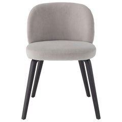 Amura Monnalisa Dining Chair in Grey Velvet and Dark Oak Base by Amuralab