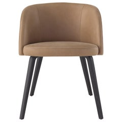Amura Monnalisa Dining Chair in Leather and Gunmetal Base by Amuralab