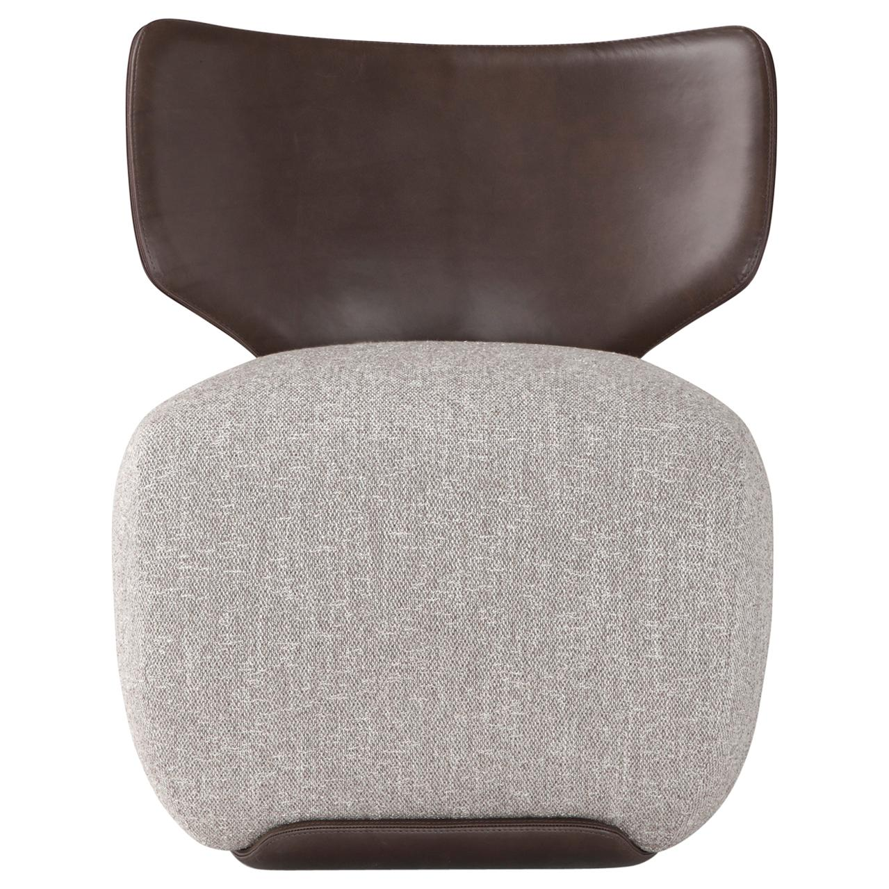 Amura 'Noa' Chair in Leather and Grey Fabric by Amura Lab
