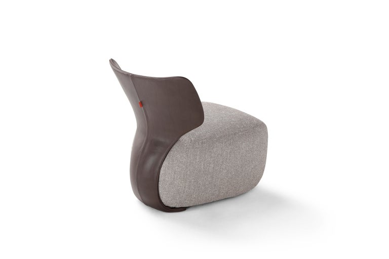 Modern Amura 'Noa' Chair in Leather and Grey Fabric by Amura Lab For Sale