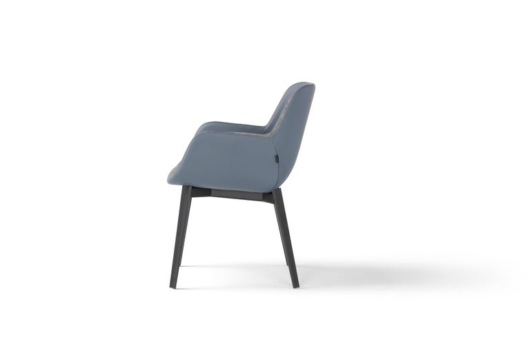 Modern Amura 'Panis' Armchair in Blue Leather by Emanuel Gargano & Anton Cristell For Sale