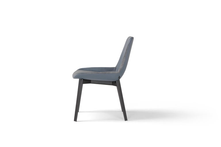 Modern Amura 'Panis' Chair in Blue Leather by Emanuel Gargano & Anton Cristell For Sale