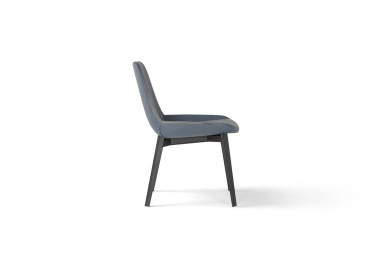 Hand-Crafted Amura 'Panis' Chair in Blue Leather by Emanuel Gargano & Anton Cristell For Sale