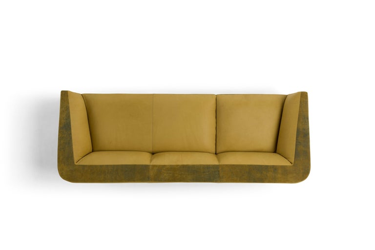 Hand-Crafted Amura 'Panis' Four-Seat Leather Sofa by Emanuel Gargano & Anton Cristell For Sale