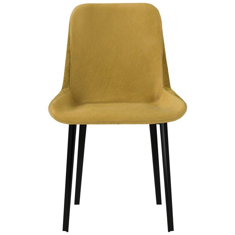 Amura 'Panis' Side Chair in Melange Leather by Emanuel Gargano & Anton Cristell For Sale