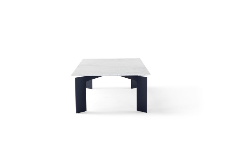 Modern Amura Range Coffee Table in Carrara Marble and Metal by Marconato & Zappa For Sale