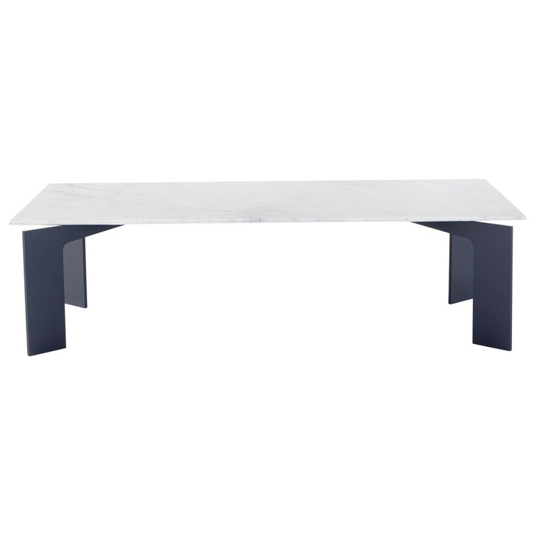 Amura Range Coffee Table in Carrara Marble and Metal by Marconato & Zappa For Sale