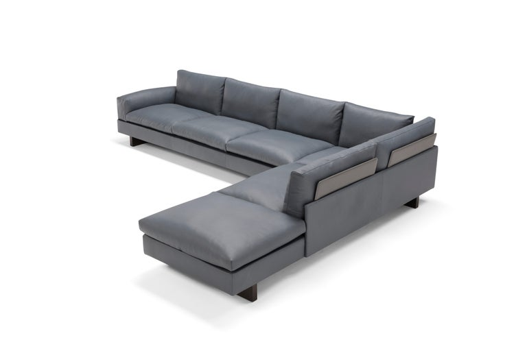 Modern Amura 'Tau' Sectional Sofa in Grey Leather by Emanuel Gargano For Sale