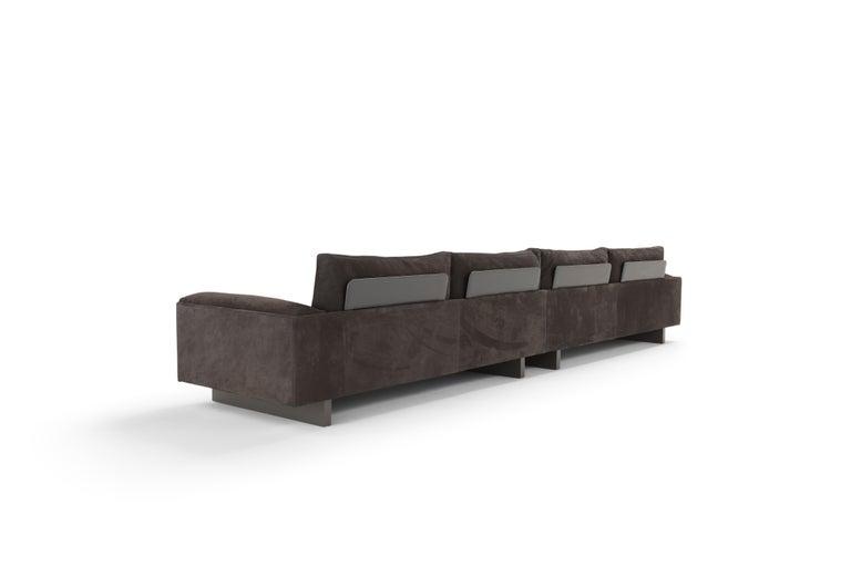 Modern Amura 'Tau' Sofa in Brown Nabuk Leather by Emanuel Gargano For Sale