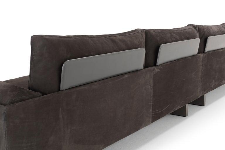 Italian Amura 'Tau' Sofa in Brown Nabuk Leather by Emanuel Gargano For Sale