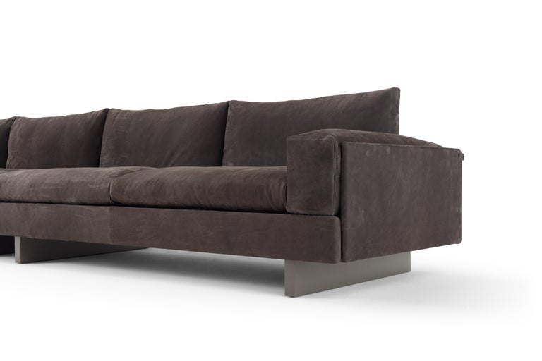 Hand-Crafted Amura 'Tau' Sofa in Brown Nabuk Leather by Emanuel Gargano For Sale