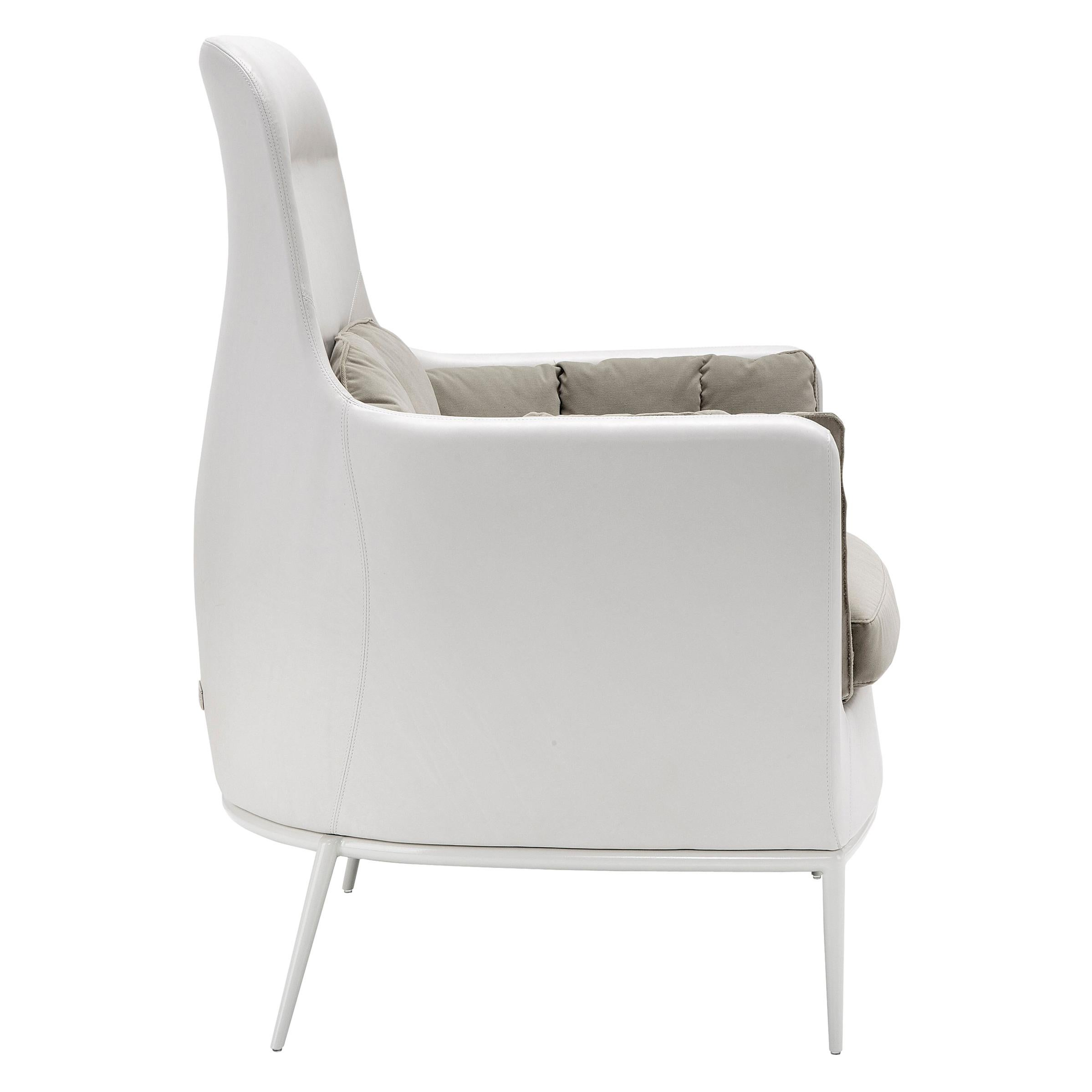 Amura 'Tulip' Armchair in Gray and Ivory by Luca Scacchetti