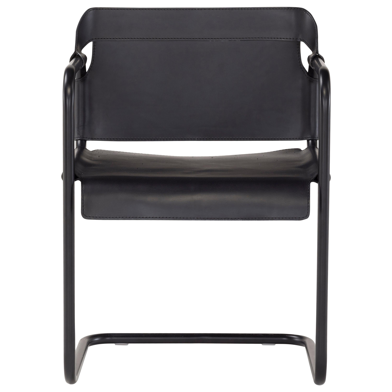 Amura Vienna Dining Chair in Metal and Black Cuoio by Quaglio & Simonelli