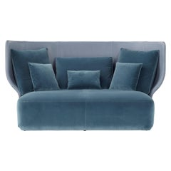 Amura Wazaa Sofa in Blue Soft Leather and Velvet by Stefano Bigi