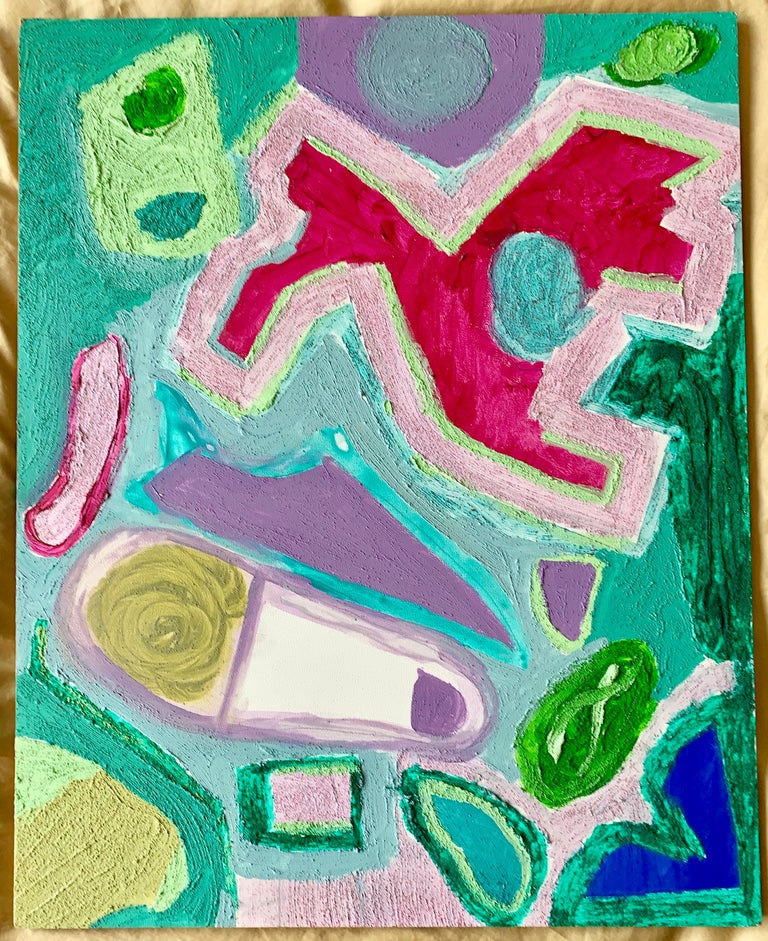 Bow-Wow, Walking the Dog, Acrylic on Board, Colorful Abstract Painting, Framed For Sale 1