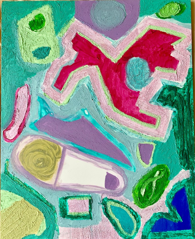 Bow-Wow, Walking the Dog, Acrylic on Board, Colorful Abstract Painting, Framed For Sale 2