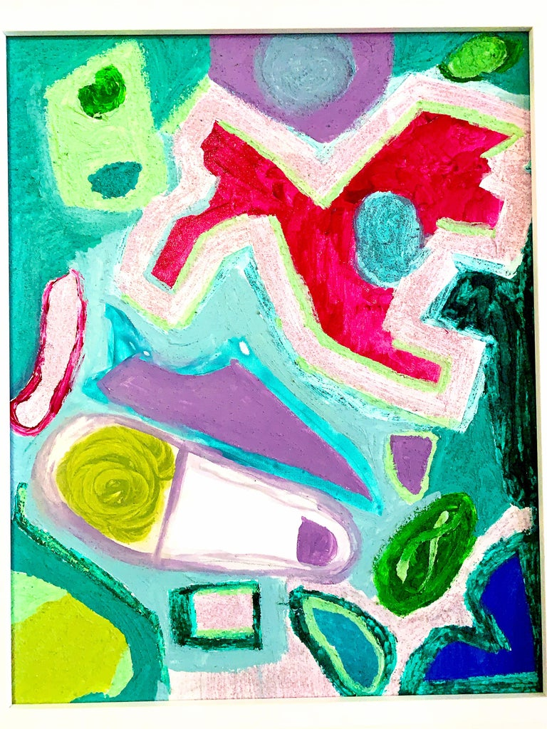 """Bow-Wow, 2016 by a.muse is a 20"""" x 16""""  bright colored abstract painting (acrylic and sand on art board). The work is signed and dated by the artist on the back of the painting. The piece ships framed.  Bow-Wow, Walking the dog is a colorful joyous"""