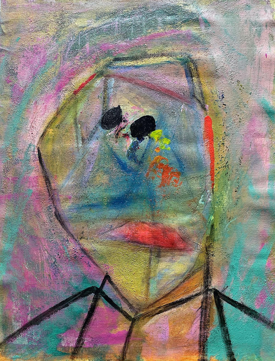 The Magician, Acrylic Sand Pastel Stick Contemporary Abstract Painting on Canvas