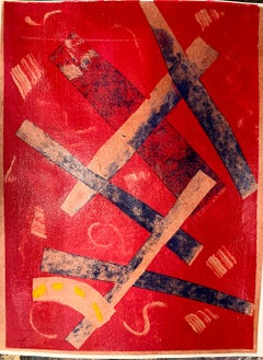 Criss Cross, Original Monotype Print, Abstract Contemporary Work on Paper