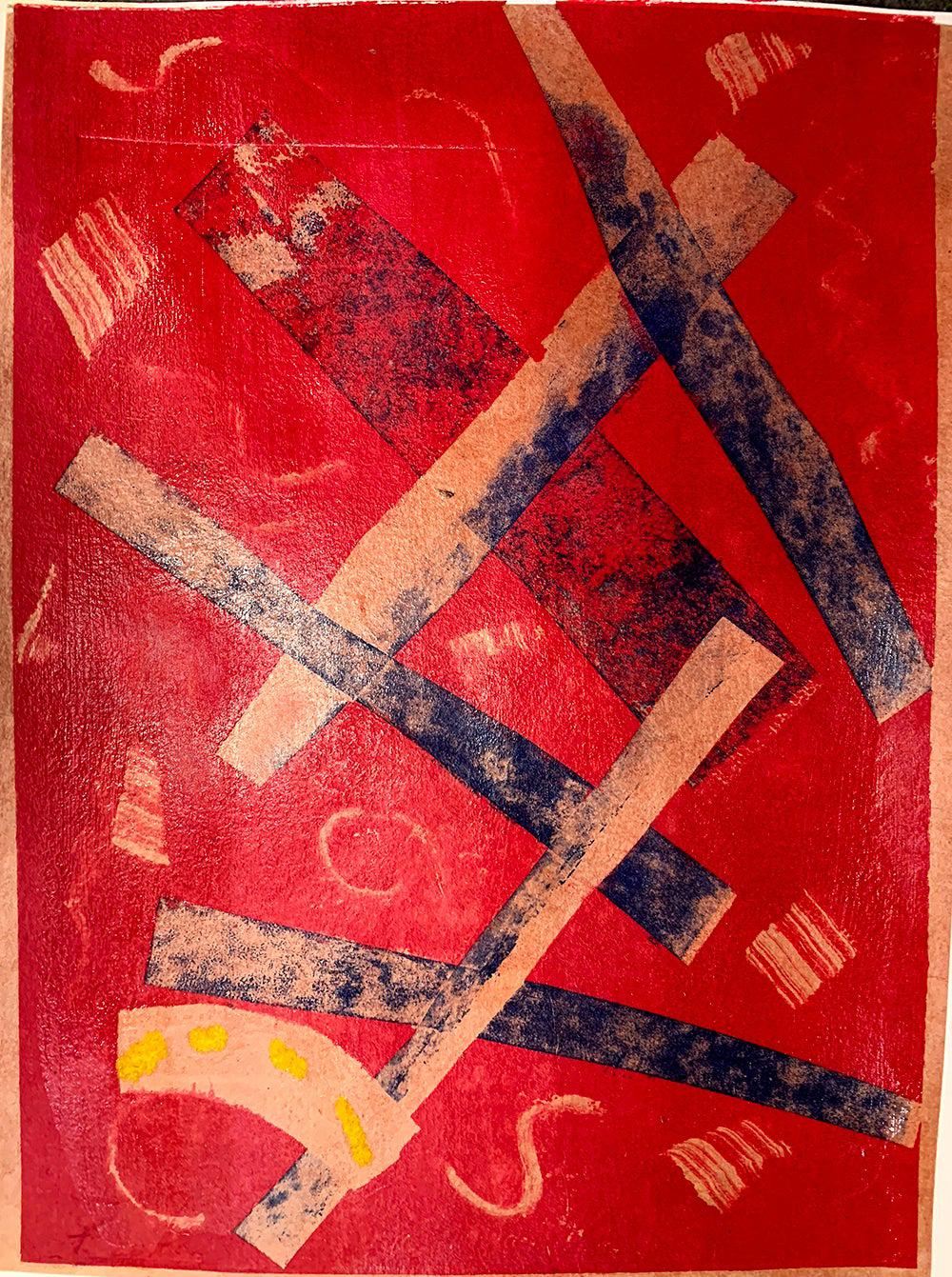 Criss Cross, Unique Monotype, Contemporary Abstract Work on Paper, Edition of 1