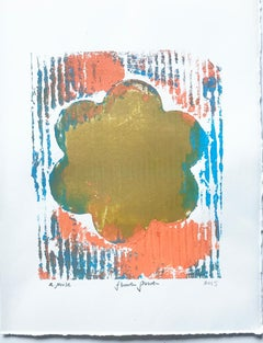 Flower Power, Work on Paper, Contemporary Collagraph Print, Edition of 1