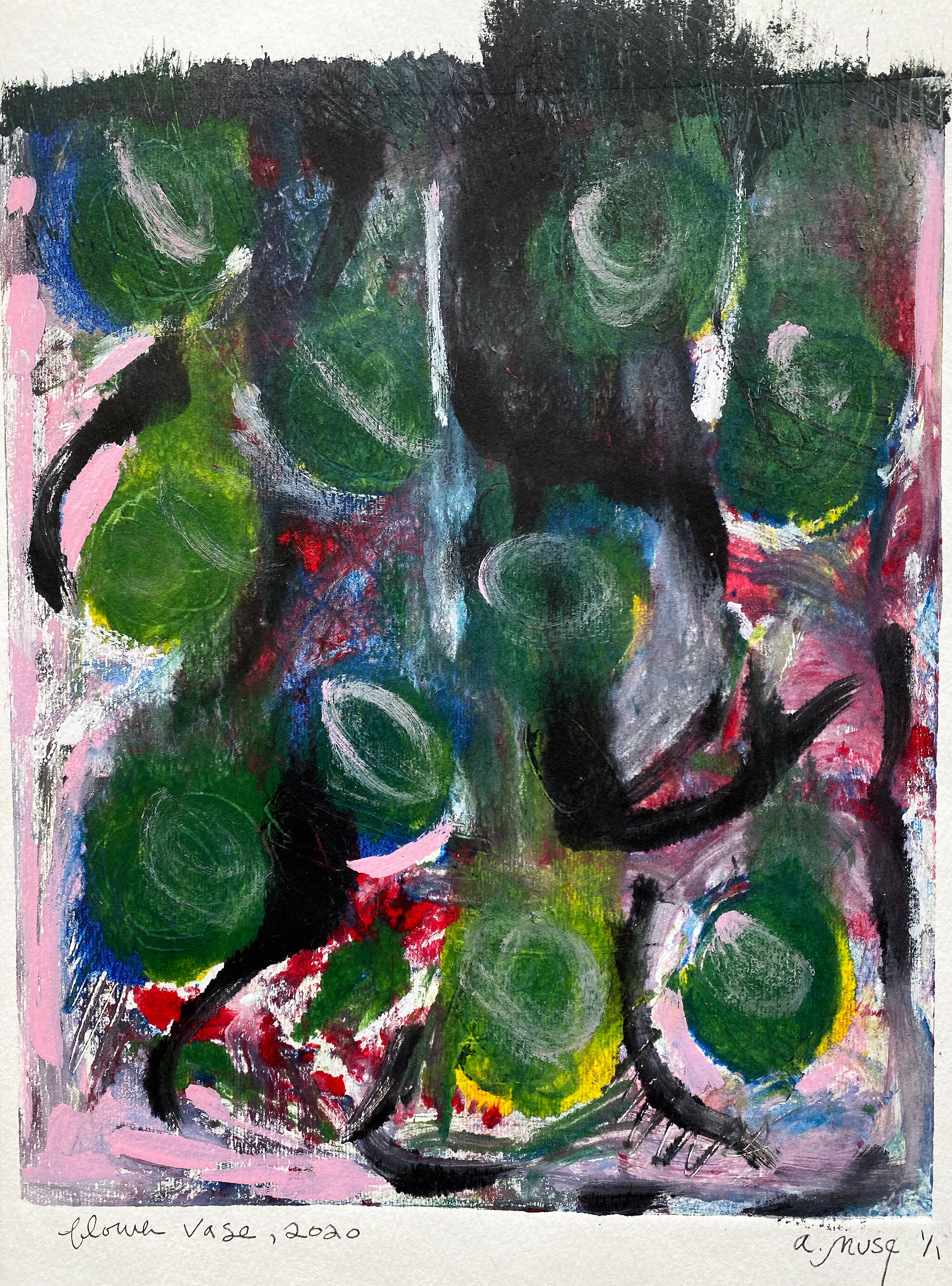 Flower Vase, Monotype, Contemporary Abstract Color Work on Paper, Edition of 1