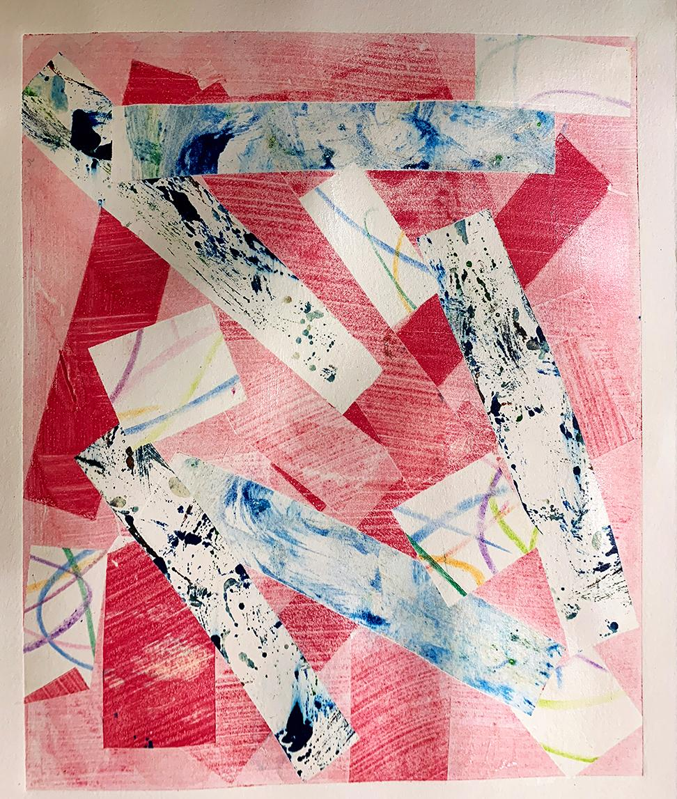 Positively Pink, Unique Monotype, Contemporary Abstract Work on Paper, Ed of 1