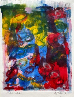 Roses, Monotype, Contemporary Abstract Color Work on Paper, Edition of 1