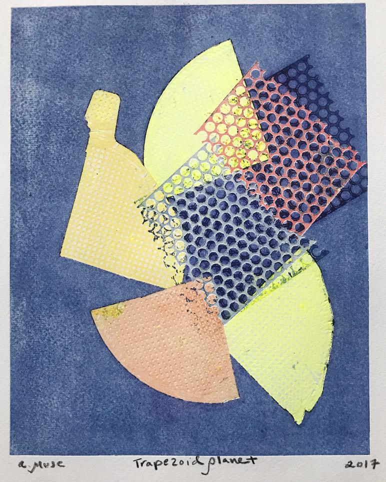 Trapezoid Planet, Work on Paper, Contemporary Abstract Monotype, Original Print
