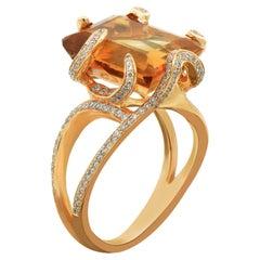 Amwaj 18 Karat Rose Gold Ring with Citrine and Diamonds
