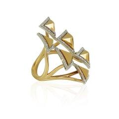 Amwaj 18 Karat Yellow Gold Geometric Ring with Diamonds