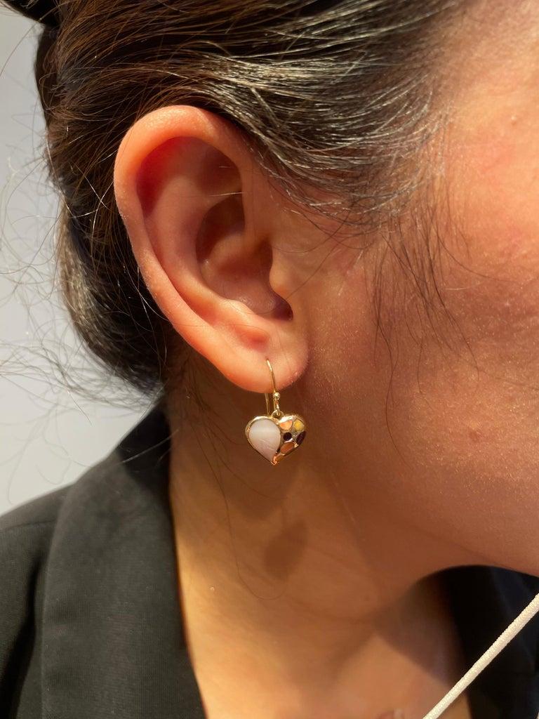 Contemporary Amwaj Jewellery 18 Karat Rose Gold Heart Shape Earrings For Sale