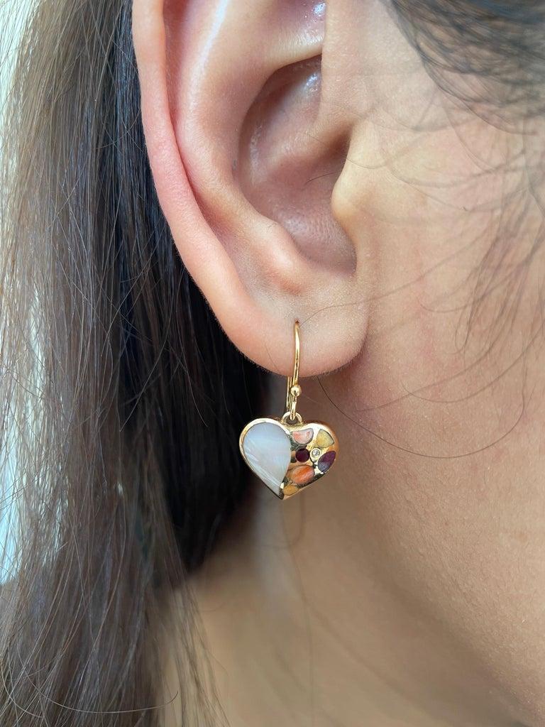 Heart Cut Amwaj Jewellery 18 Karat Rose Gold Heart Shape Earrings For Sale