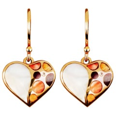 Amwaj Jewellery 18 Karat Rose Gold Heart Shape Earrings