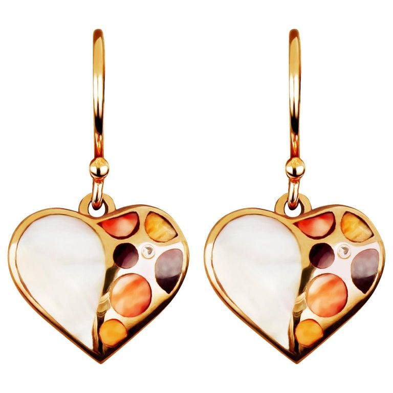 Amwaj Jewellery 18 Karat Rose Gold Heart Shape Earrings For Sale