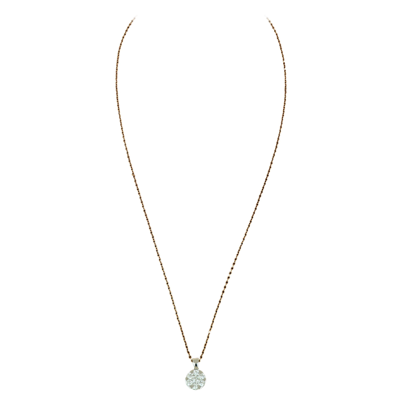 Amwaj Jewellery 18 Karat Rose Gold Pendant with Round Diamond