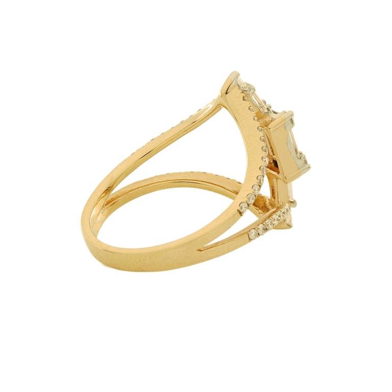 Romantic Amwaj Jewellery 18 Karat Rose Gold Ring with White Baguette Cut Diamonds For Sale