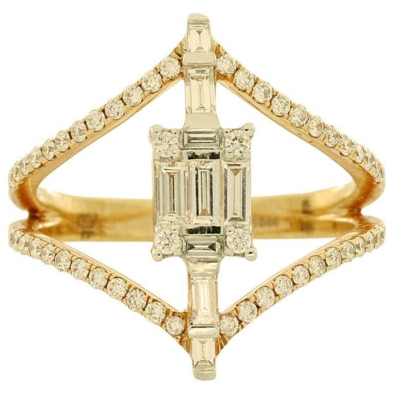 Amwaj Jewellery 18 Karat Rose Gold Ring with White Baguette Cut Diamonds For Sale