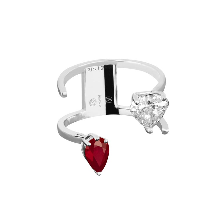 Contemporary Amwaj Jewellery 18 Karat White Gold Ring with Ruby and Heart Cut Diamond For Sale