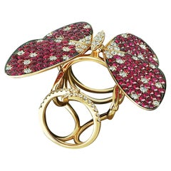 Amwaj Jewellery 18K Rose Gold Butterfly Ring with Ruby and Diamonds
