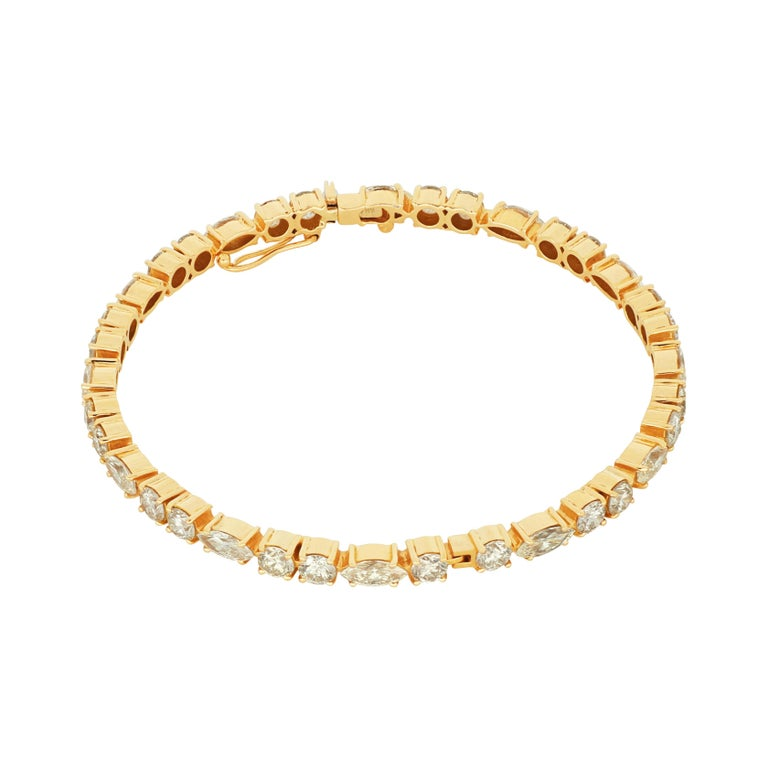 Romantic Amwaj Jewellery Marquise and Round Cut Diamond Bangle For Sale