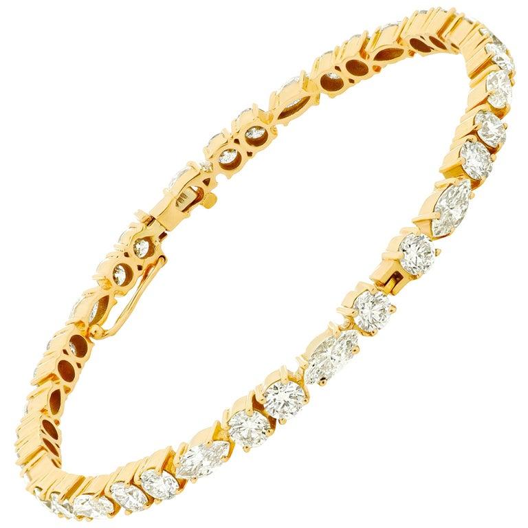 Amwaj Jewellery Marquise and Round Cut Diamond Bangle For Sale