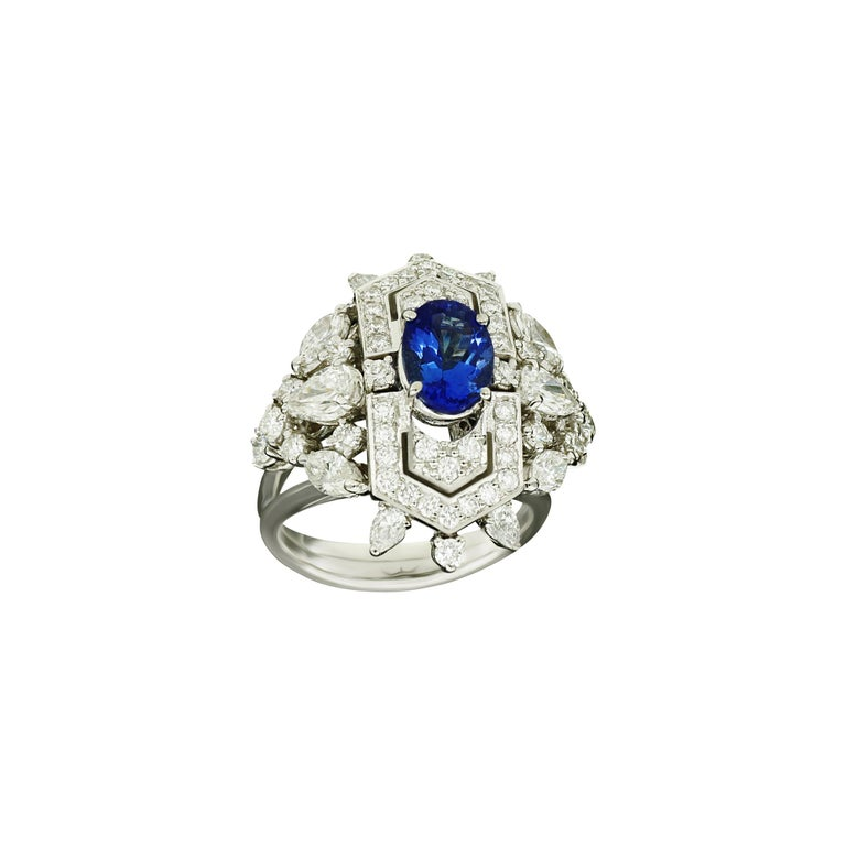 Art Deco Amwaj Jewellery Marquise and Round Cut Diamond Ring with Tanzanite For Sale
