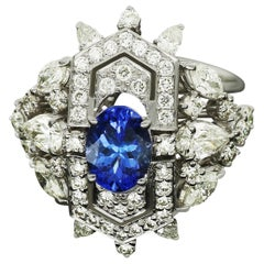 Amwaj Jewellery Marquise and Round Cut Diamond Ring with Tanzanite